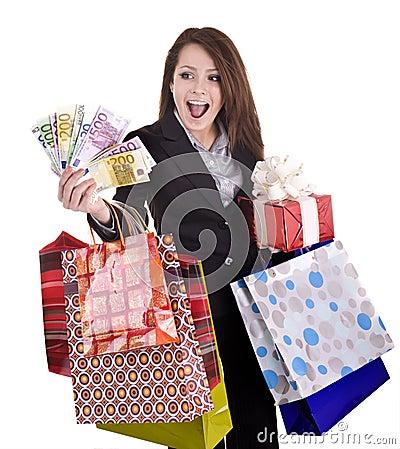 Girl with money, gift, box.