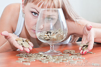Girl money and a glass
