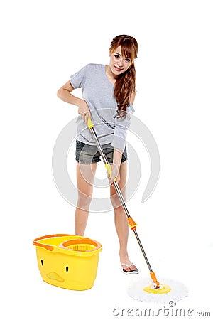 Girl mopping