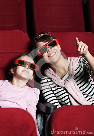 A Girl With Mother In 3D Movie Theater Royalty Free Stock Image - Image: 24812826