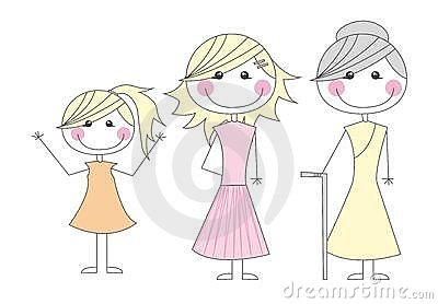 Girl,mother and grandmother