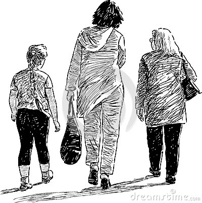 Girl, mother and grandmother