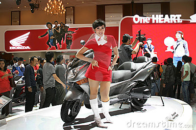 girl on motor cycle show Editorial Stock Image