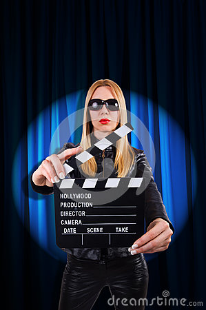 Girl with movie board