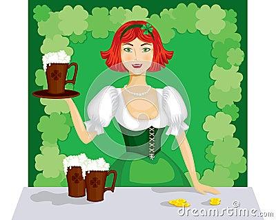Girl with a mug of ale
