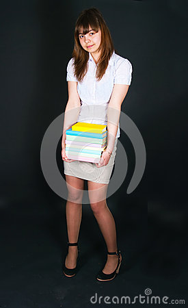 The girl with multi-colored books