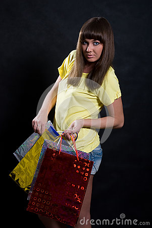 Girl with multi-colored packages