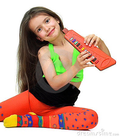 A girl with musical instrument