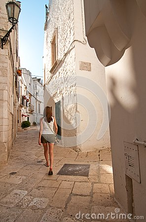 Girl in a narrow street