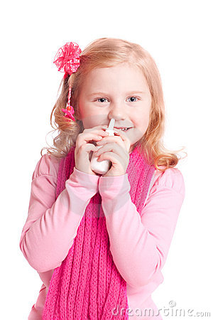 Girl with nasal spray