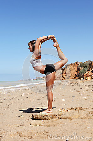 Girl in Nataradzha yoga pose