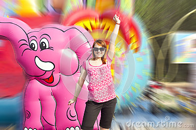 Girl near the attraction