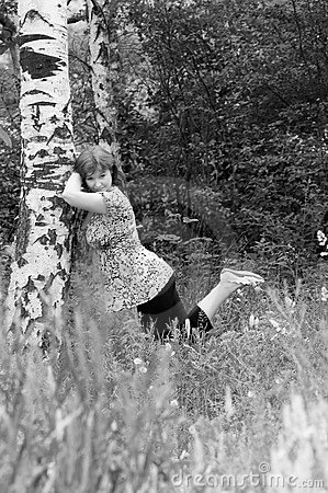 The girl near a birch