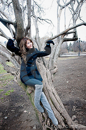 Girl near the curvy tree