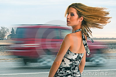 Girl Near The Highway
