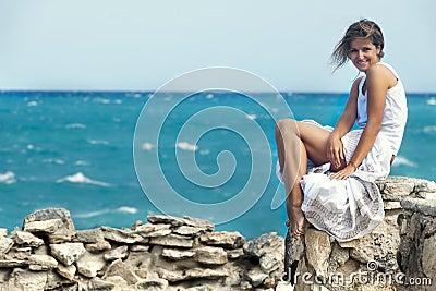 Girl near ocean