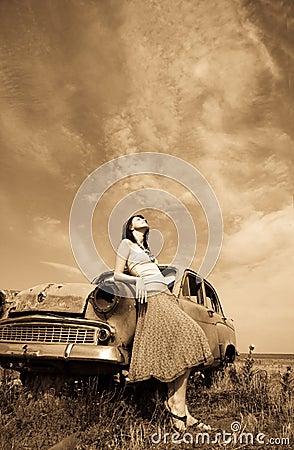 Free Girl Near Old Car Stock Photo - 11655800