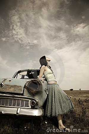 Free Girl Near Old Car Stock Image - 11690271