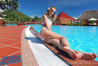 Girl near pool