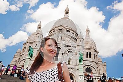 Girl near Sacre-Coeur Basilica. Paris, France