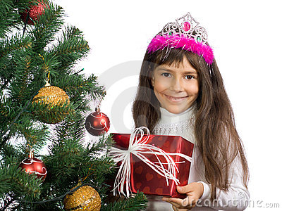 The girl with a New Year tree