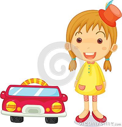 A Girl Next to Car