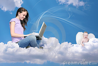 Girl with notebook on cloud and little angel