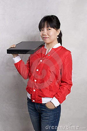 Girl and notebook compute