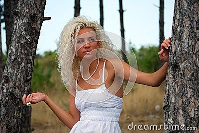 Girl in oak forest 2