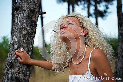 Girl in oak forest