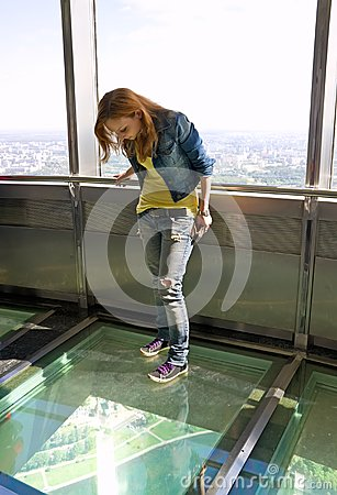 Girl in observatory of tele tower