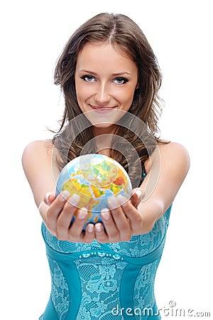 Girl offer globe