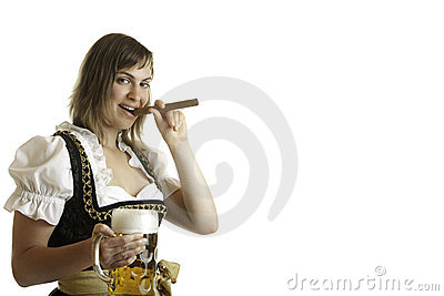 Girl with Oktoberfest Beer Stein and Cigar