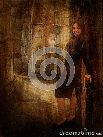 Girl in old city