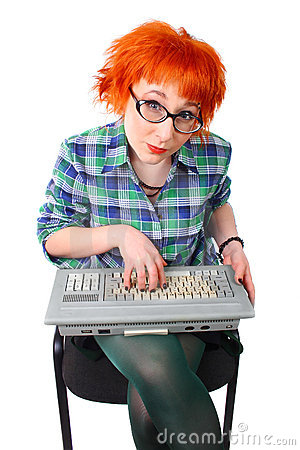 Girl with an old keyboard