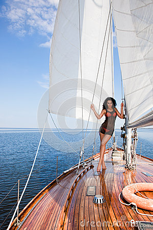 Free Girl On A Yacht Royalty Free Stock Image - 31185466
