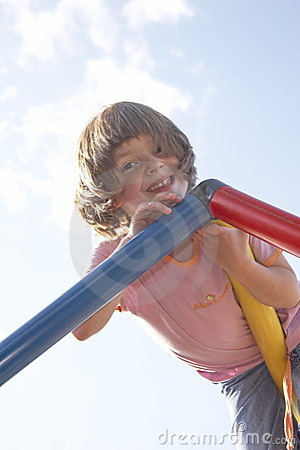 Free Girl On Climbing Pole 01 Stock Photo - 911030