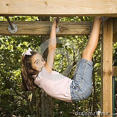 Free Girl On Monkey Bars. Royalty Free Stock Photo - 4246755