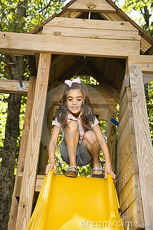 Free Girl On Slide. Royalty Free Stock Image - 4246736