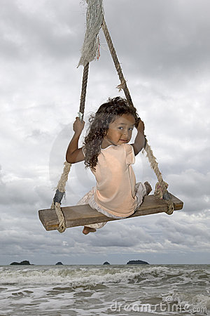 Free Girl On Swing At The Sea Royalty Free Stock Photos - 6291048
