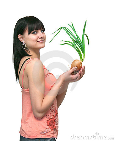 Girl and an onions.  It is isolated