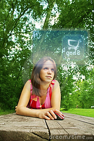 Girl online in park