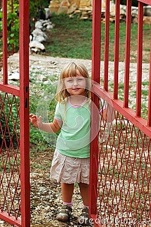 Free Girl Opening Door Stock Photo - 1463230