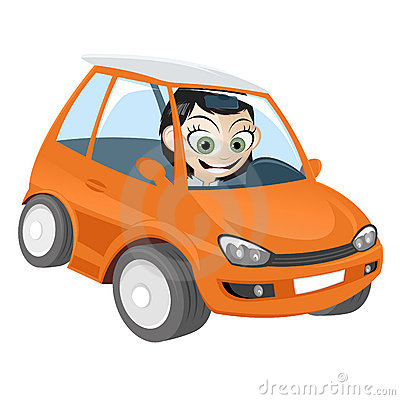 Girl in orange cartoon car