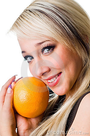 The  girl with an orange close up
