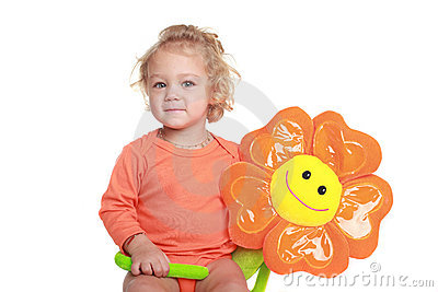 Girl with orange flower toy
