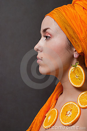 Girl with orange headscarf