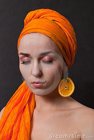 Girl with orange headscarf