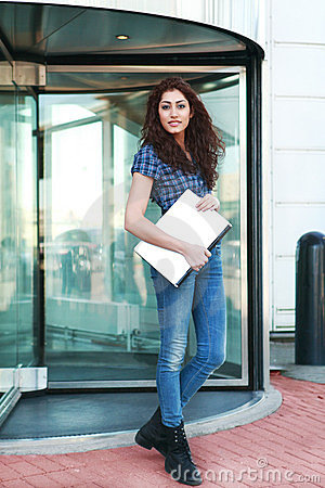 Girl outside office