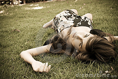 Girl over grass